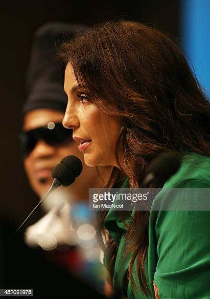 Ivete Sangalo attends a press conference prior to the final match of the 2014 World Cup between Germany and Argentina at The Maracana Stadium on July...