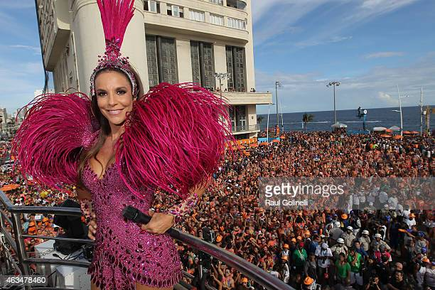 Ivete Sangalo sings on Barra/Ondina circuit during Salvador Carnival on February 14 2015 in Salvador Brazil