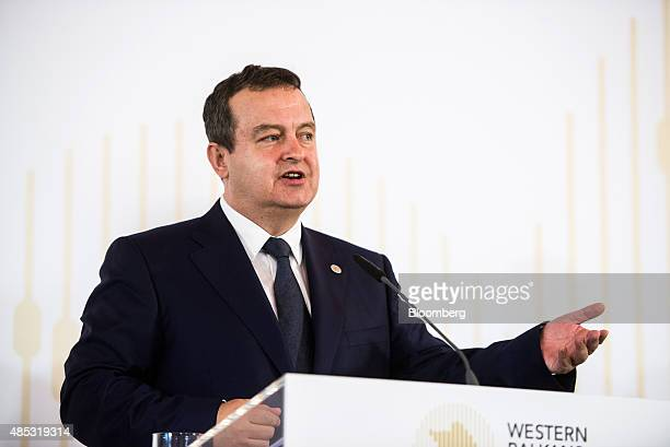 Ivica Dacic Serbia's foreign minister gestures as he speaks during a news conference at the Western Balkans Summit in Vienna Austria on Thursday Aug...