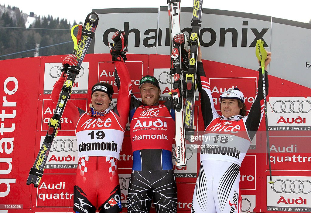 Ivica Kostelic of Crioatia takes 2nd Place, Bode Miller of the United States takes 1st place, and Rainer Schoenfelder of Austria takes 3rd place during the FIS Alpine ski World cup World Cup Men's Super Combined Downhill event on January 27, 2008 in Chamonix, France.