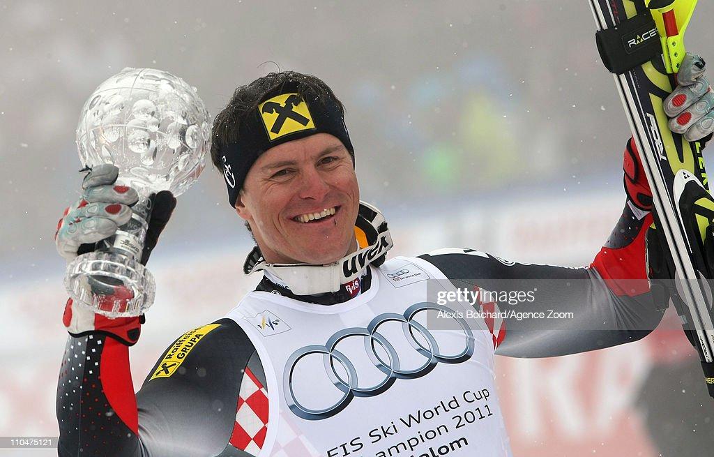 Ivica Kostelic of Croatia celebrates winning the Overall Slalom World Cup on March 19 2011 in Lenzerheide Switzerland