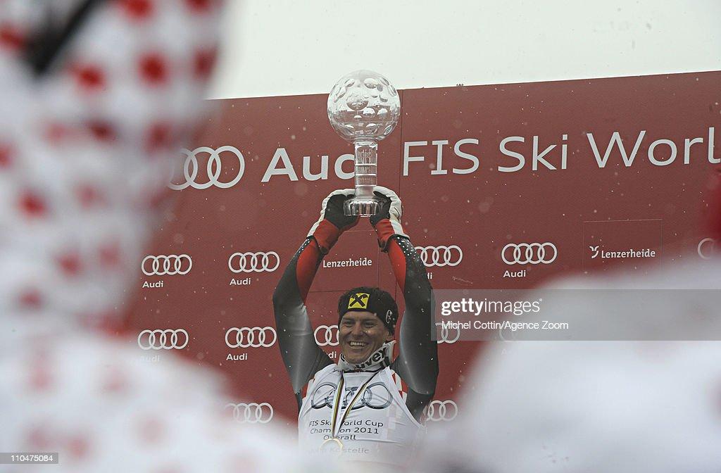 Ivica Kostelic of Croatia celebrates winning the Overall World Cup on March 19 2011 in Lenzerheide Switzerland