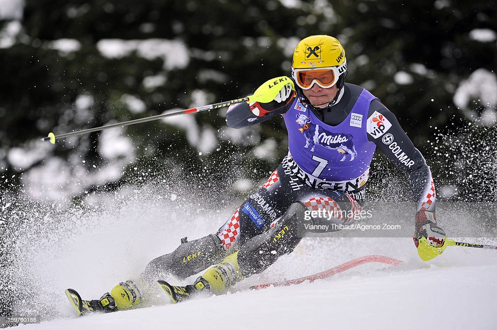 Ivica Kostelic of Croatia competes during the Audi FIS Alpine Ski World Cup Men's Slalom on January 20, 2013 in Wengen, Switzerland.