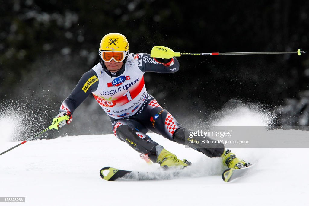 Ivica Kostelic of Croatia competes during the Audi FIS Alpine Ski World Cup Men's Slalom on March 17, 2013 in Lenzerheide, Switzerland.