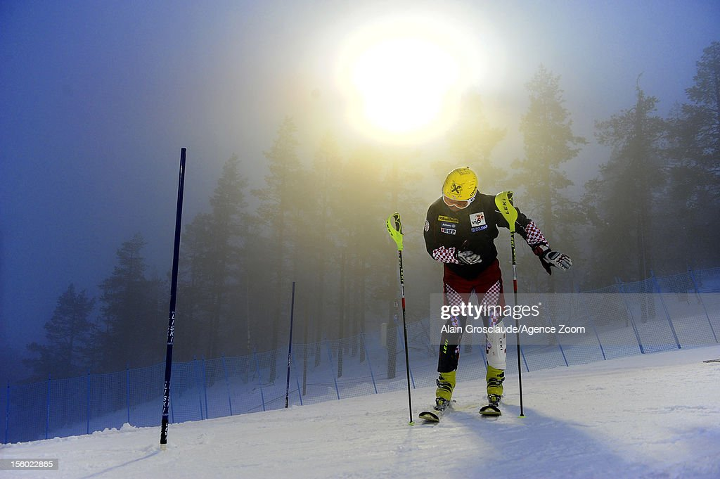 <a gi-track='captionPersonalityLinkClicked' href=/galleries/search?phrase=Ivica+Kostelic&family=editorial&specificpeople=241265 ng-click='$event.stopPropagation()'>Ivica Kostelic</a> of Croatia during the Audi FIS Alpine Ski World Cup Men's Slalom on November 11, 2012 in Levi, Finland.