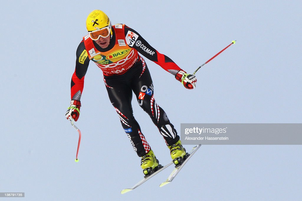 Ivica Kostelic of Croatia jumps on the Lake jump during the downhill part of the men's Alpine Skiing Audi FIS World Cup Super Combined event at Rosa...