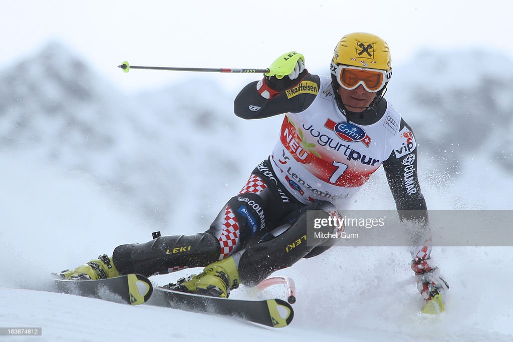 Ivica Kostelic of Croatia races down the course competing in the Audi FIS Alpine Skiing World Cup Finals giant slalom race on March 17, 2013 in Lenzerheide, Switzerland,