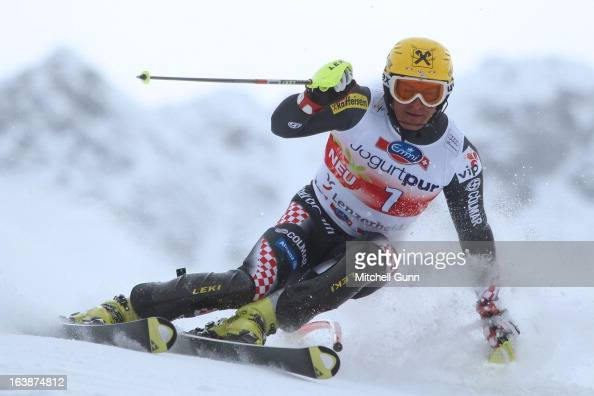 Ivica Kostelic of Croatia races down the course competing in the Audi FIS Alpine Skiing World Cup Finals giant slalom race on March 17 2013 in...