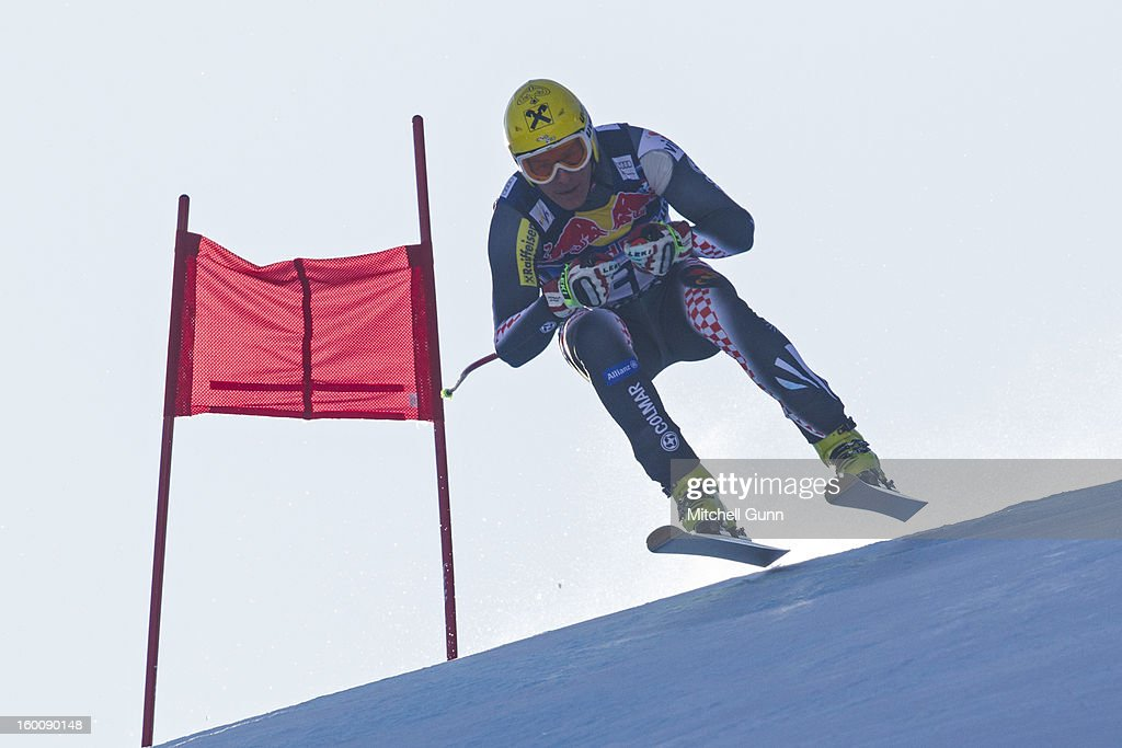 Ivica Kostelic of Croatia races down the Hahnenkamm course during the Audi FIS Alpine Ski World Cup Downhill on January 26, 2013 in Kitzbuhel, Austria,