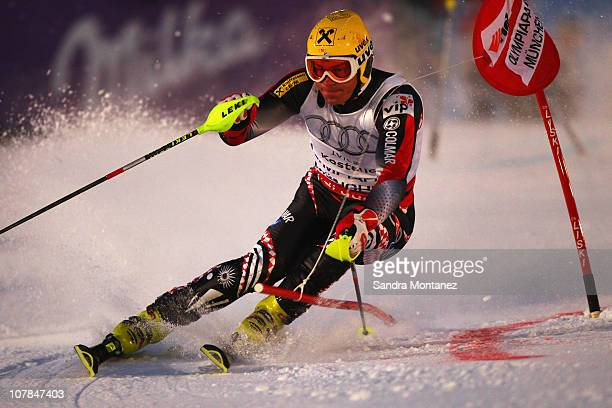 Ivica Kostelic of Croatia races down the slope during the Parallel Slalom of the FIS Skiing World Cup at the Olympic Hill on January 2 2011 in Munich...