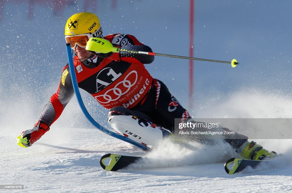 Ivica Kostelic of Croatia skies to 2nd place during the Audi FIS Alpine Ski World Cup Men's Slalom on January 23 2011 in Kitzbuehel Austria