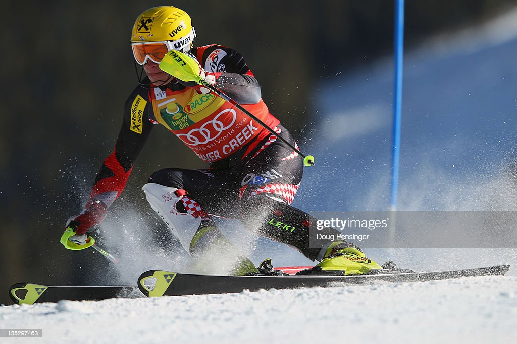 Ivica Kostelic of Croatia skis to first place in the men's slalom on the Birds of Prey at the Audi FIS World Cup on December 8 2011 in Beaver Creek...