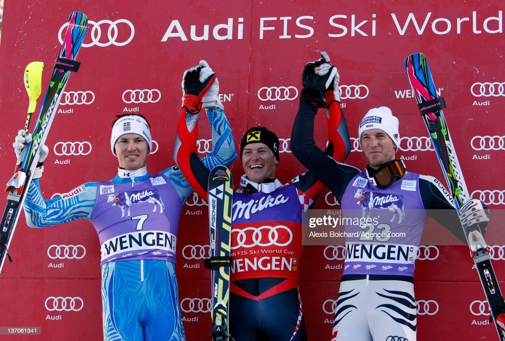 <a gi-track='captionPersonalityLinkClicked' href=/galleries/search?phrase=Ivica+Kostelic&family=editorial&specificpeople=241265 ng-click='$event.stopPropagation()'>Ivica Kostelic</a> of Croatia takes 1st place, <a gi-track='captionPersonalityLinkClicked' href=/galleries/search?phrase=Andre+Myhrer&family=editorial&specificpeople=835341 ng-click='$event.stopPropagation()'>Andre Myhrer</a> of Sweden takes 2nd place, Fritz Dopfer of Germany takes 3rd place during the Audi FIS Alpine Ski World Cup Men's Slalom on January 15, 2012 in Wengen, Switzerland.