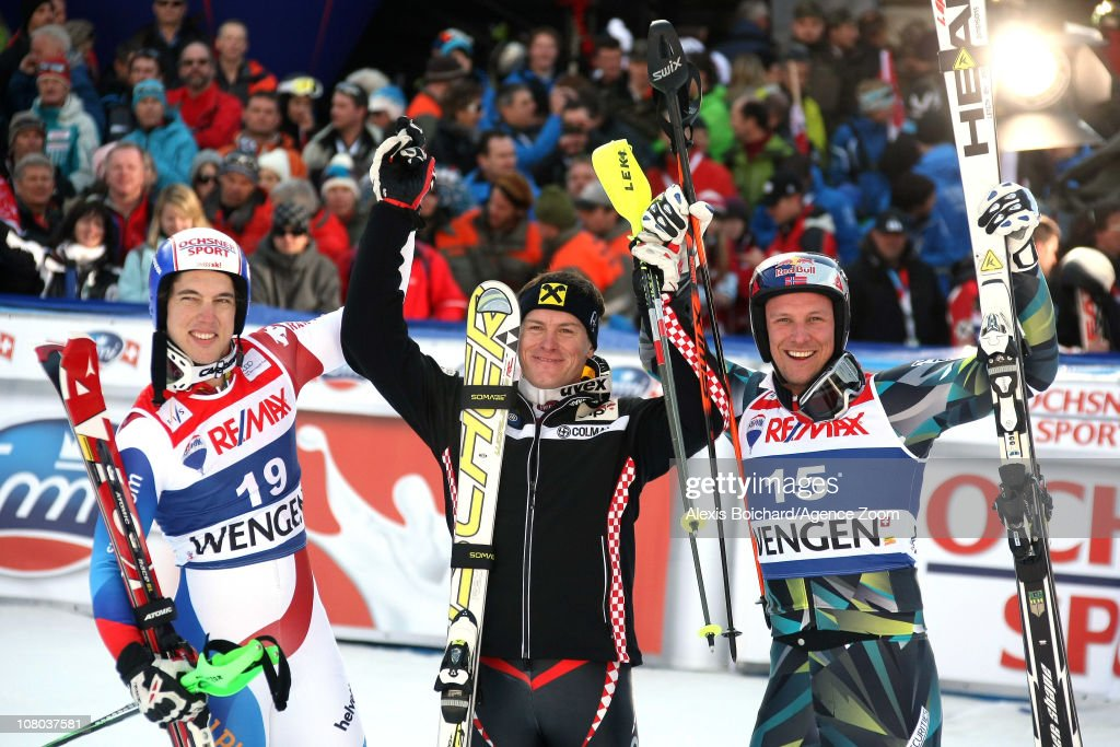 <a gi-track='captionPersonalityLinkClicked' href=/galleries/search?phrase=Ivica+Kostelic&family=editorial&specificpeople=241265 ng-click='$event.stopPropagation()'>Ivica Kostelic</a> of Croatia takes 1st place, <a gi-track='captionPersonalityLinkClicked' href=/galleries/search?phrase=Carlo+Janka&family=editorial&specificpeople=5622589 ng-click='$event.stopPropagation()'>Carlo Janka</a> of Switzerland takes 2nd place, <a gi-track='captionPersonalityLinkClicked' href=/galleries/search?phrase=Aksel+Lund+Svindal&family=editorial&specificpeople=227957 ng-click='$event.stopPropagation()'>Aksel Lund Svindal</a> of Norway takes 3rd place during the Audi FIS Alpine Ski World Cup Men's Super Combined on January 14, 2011 in Wengen, Switzerland.