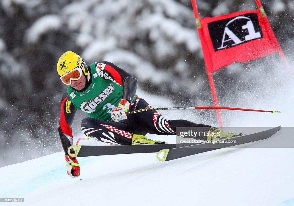 Ivica Kostelic of Croatia takes 1st place during the Audi FIS Alpine Ski World Cup Men's SuperG on January 21 2011 in Kitzbuehel Austria