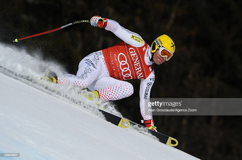 Ivica Kostelic of Croatia takes 1st place during the Audi FIS Alpine Ski World Cup Men's Super Combined on January 30 2011 in Chamonix France