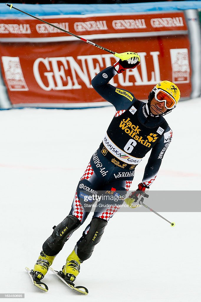 Ivica Kostelic of Croatia takes 1st place during the Audi FIS Alpine Ski World Cup Men's Slalom on March 10, 2013 in Kranjska Gora, Slovenia.