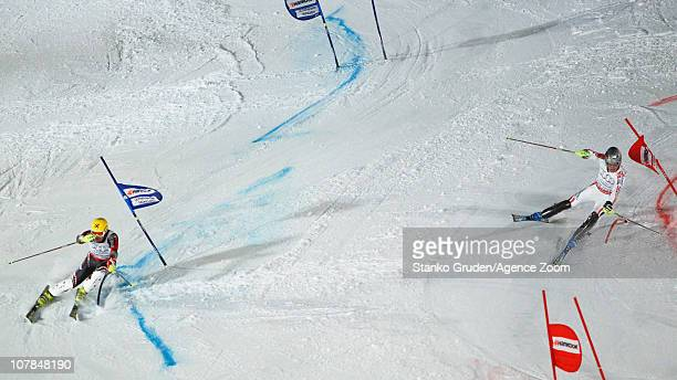 Ivica Kostelic of Croatia takes 1st place Julien Lizeroux of France takes 2nd place during the Audi FIS Alpine Ski World Cup Men's and Women's...