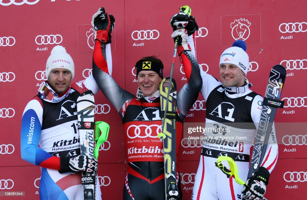 <a gi-track='captionPersonalityLinkClicked' href=/galleries/search?phrase=Ivica+Kostelic&family=editorial&specificpeople=241265 ng-click='$event.stopPropagation()'>Ivica Kostelic</a> of Croatia takes 1st place, Silvan Zurbriggen of Switzerland takes 2nd place and Romed Baumann of Austria takes 3rd place in the Audi FIS Alpine Ski World Cup Men's Combined on January 23, 2011 in Kitzbuehel, Austria.