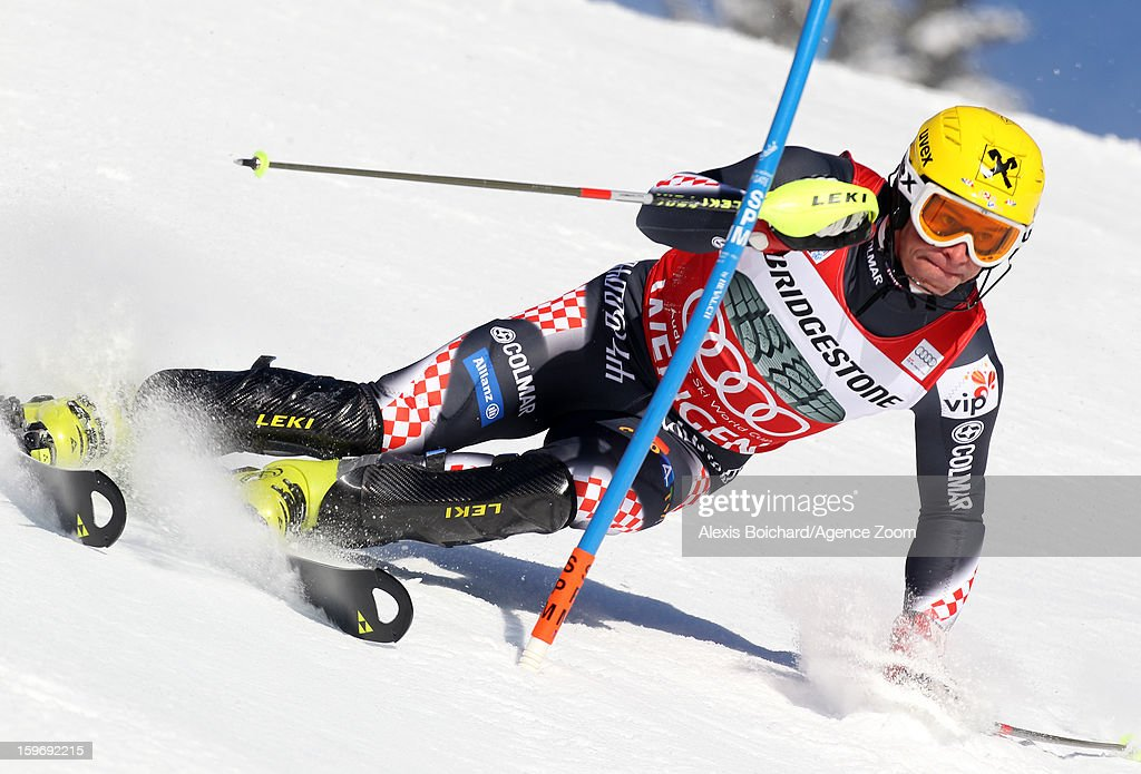 Ivica Kostelic of Croatia takes 2nd place during the Audi FIS Alpine Ski World Cup Men's Super Combined on January 18, 2013 in Wengen, Switzerland.