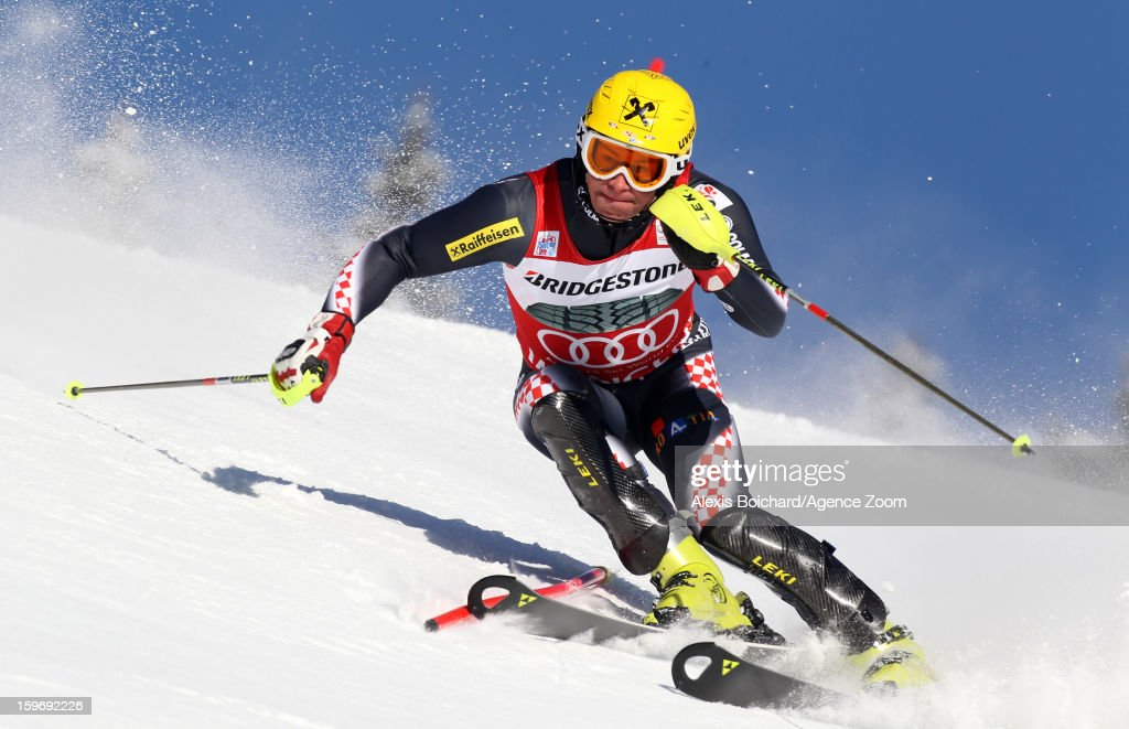 <a gi-track='captionPersonalityLinkClicked' href=/galleries/search?phrase=Ivica+Kostelic&family=editorial&specificpeople=241265 ng-click='$event.stopPropagation()'>Ivica Kostelic</a> of Croatia takes 2nd place during the Audi FIS Alpine Ski World Cup Men's Super Combined on January 18, 2013 in Wengen, Switzerland.