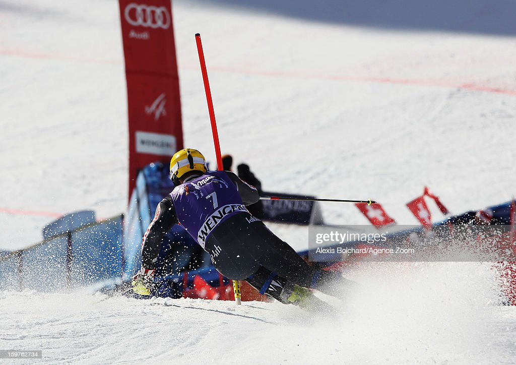 Ivica Kostelic of Croatia takes 3rd place during the Audi FIS Alpine Ski World Cup Men's Slalom on January 20, 2013 in Wengen, Switzerland.