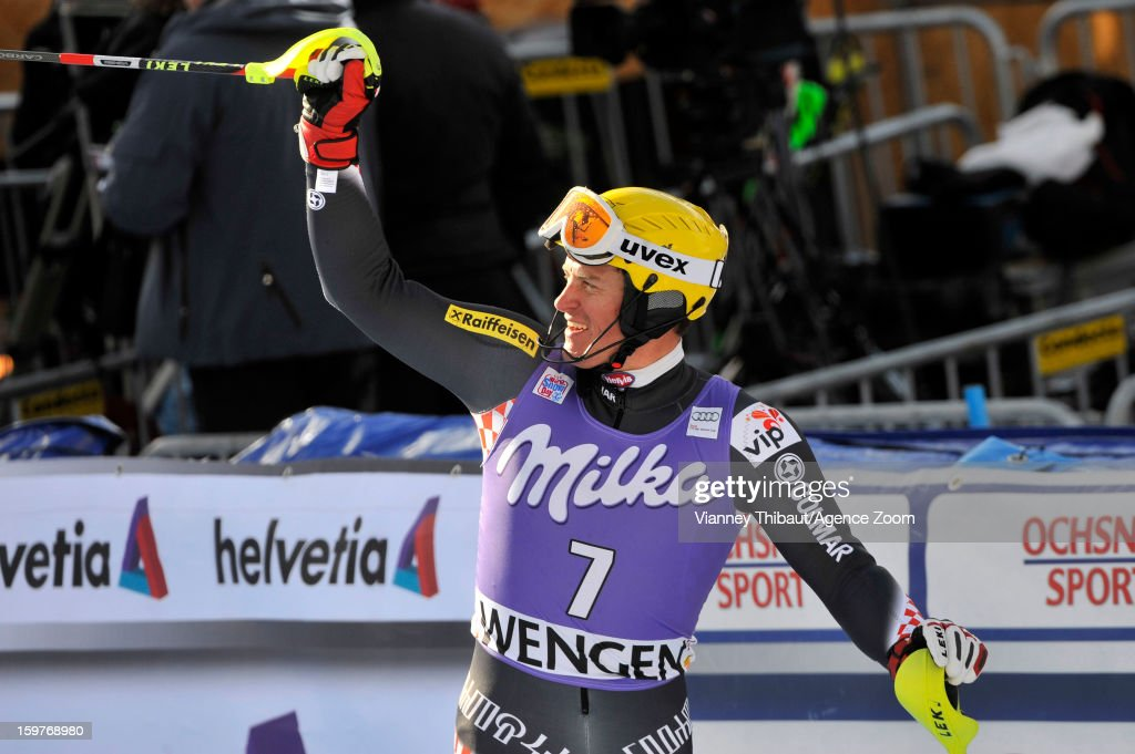 <a gi-track='captionPersonalityLinkClicked' href=/galleries/search?phrase=Ivica+Kostelic&family=editorial&specificpeople=241265 ng-click='$event.stopPropagation()'>Ivica Kostelic</a> of Croatia takes 3rd place during the Audi FIS Alpine Ski World Cup Men's Slalom on January 20, 2013 in Wengen, Switzerland.