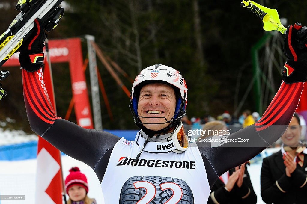 Ivica Kostelic of Croatia takes 3rd place during the Audi FIS Alpine Ski World Cup Men's Super Combined on January 16 2015 in Wengen Switzerland