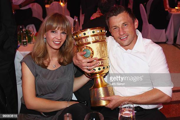 Ivica Olic and his wife Natalie attend the Bayern Muenchen Champions Party after the DFB Cup Final match against Werder Bremen at DeutscheTelekom...