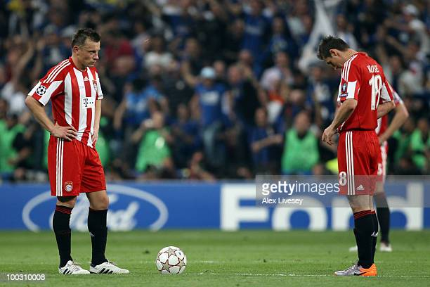 Ivica Olic and Miroslav Klose of Bayern Muenchen look on during the UEFA Champions League Final match between FC Bayern Muenchen and Inter Milan at...