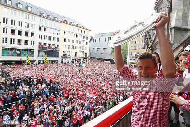 Ivica Olic of Bayern Muenchen celebrates the German championship title on the balcony of the town hall on May 9 2010 in Munich Germany