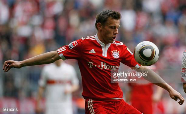 Ivica Olic of Bayern Muenchen plays the ball during the Bundesliga match between FC Bayern Muenchen and VfB Stuttgart at Allianz Arena on March 27...