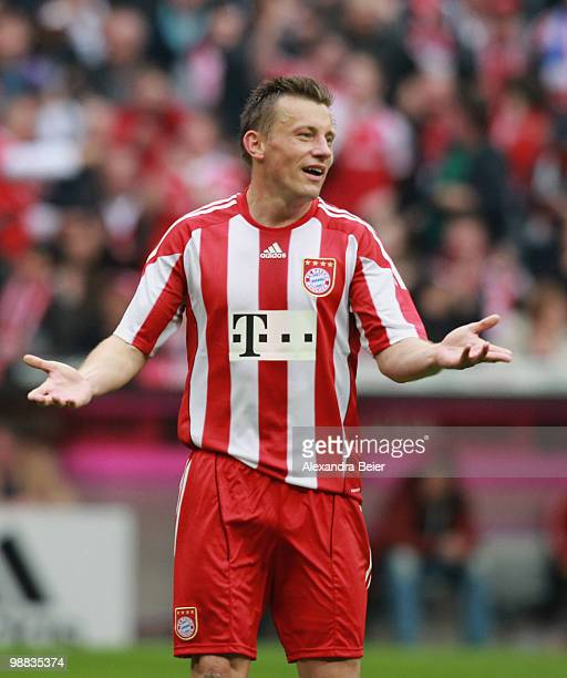 Ivica Olic of Bayern Muenchen reacts during the Bundesliga match between FC Bayern Muenchen and VfL Bochum at Allianz Arena on May 1 2009 in Munich...