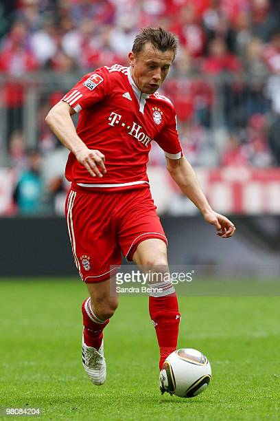 Ivica Olic of Bayern Muenchen runs with the ball during the Bundesliga match between FC Bayern Muenchen and VfB Stuttgart at Allianz Arena on March...