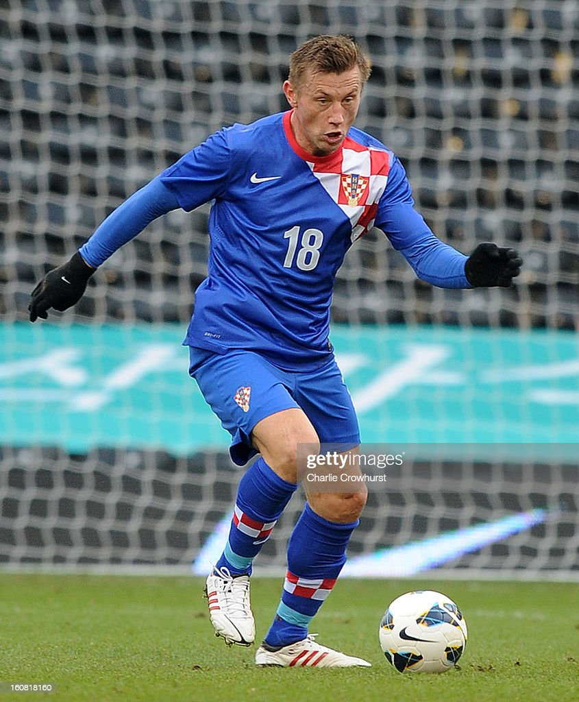 <a gi-track='captionPersonalityLinkClicked' href=/galleries/search?phrase=Ivica+Olic&family=editorial&specificpeople=547277 ng-click='$event.stopPropagation()'>Ivica Olic</a> of Croatia attacks during the International Friendly match between Croatia and Korea Republic at Craven Cottage on February 6, 2013 in London, England.