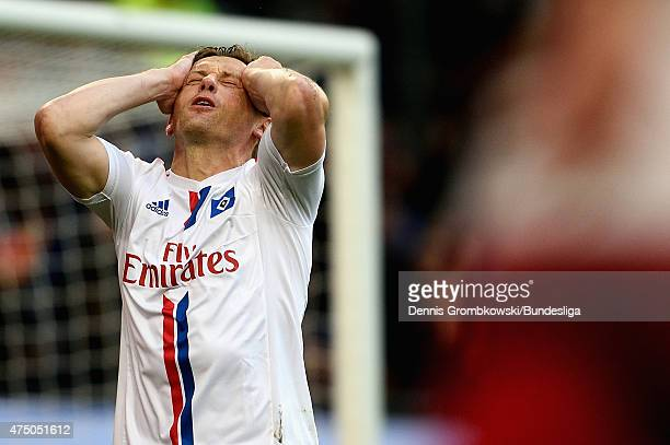 Ivica Olic of Hamburger SV despairs as he misses a chance at goal during the Bundesliga Playoff first leg match between Hamburger SV and Karlsruher...