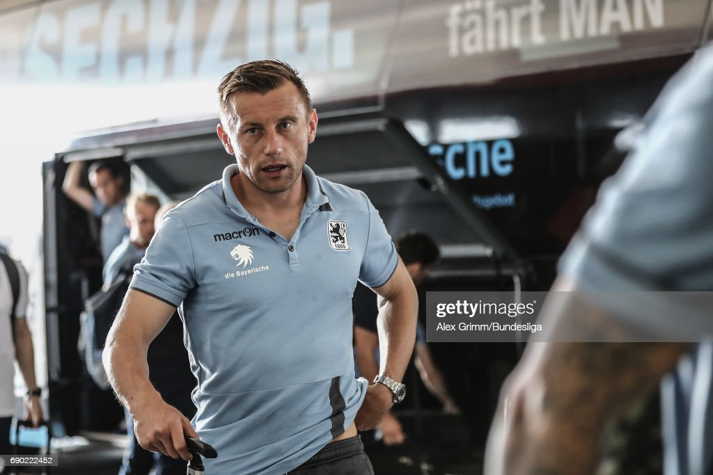 Ivica Olic of Muenchen arrives for the 2. Bundesliga Playoff leg 2 match between 1860 Muenchen and Jahn Regensburg at Allianz Arena on May 30, 2017 in Munich, Germany.