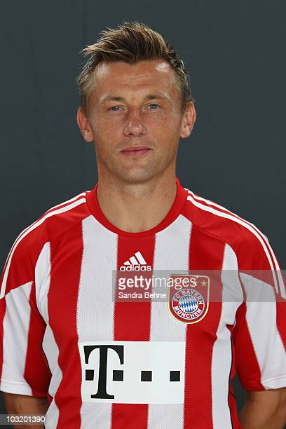 Ivica Olic poses during the FC Bayern Muenchen team presentation at Bayern's training ground Saebener Strasse on August 2 2010 in Munich Germany