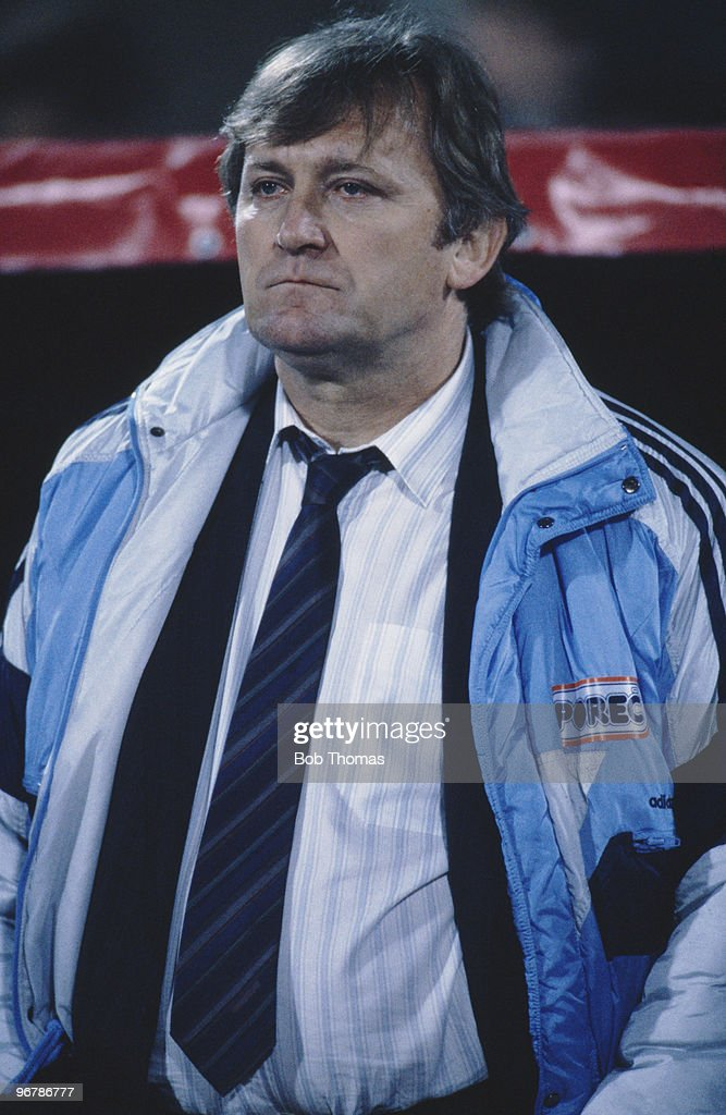Ivica Osim, manager of the Yugoslavian football team, during the World Cup qualifier against Norway in Sarajevo, 11th October 1989. Yugoslavia won 1-0.
