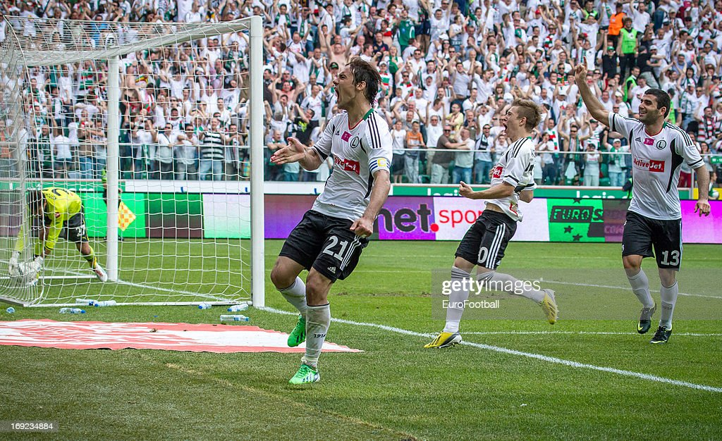 Ivica Vrdoljak of Legia Warszawa celebrates scoring the winning goal from the penalty spot during the Polish First Division between Legia Warszawa and KKS Lech Poznan held on May 18, 2013 at the Pepsi Arena in Warsaw, Poland.