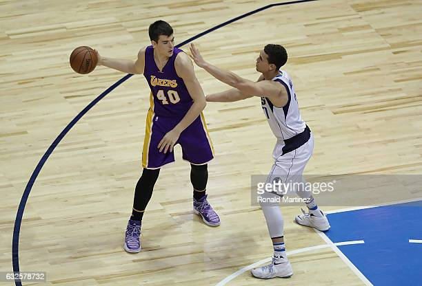 Ivica Zubac of the Los Angeles Lakers and Justin Anderson of the Dallas Mavericks at American Airlines Center on January 22 2017 in Dallas Texas NOTE...