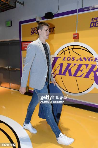 Ivica Zubac of the Los Angeles Lakers arrives before the game against the LA Clippers on October 19 2017 at STAPLES Center in Los Angeles California...