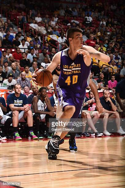 Ivica Zubac of the Los Angeles Lakers drives to the basket against the New Orleans Pelicans during the 2016 Las Vegas Summer League game on July 8...