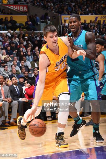 Ivica Zubac of the Los Angeles Lakers drives to the basket against the Charlotte Hornets on February 28 2017 at STAPLES Center in Los Angeles...