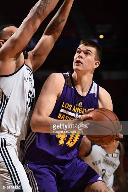 Ivica Zubac of the Los Angeles Lakers goes for the layup against the New Orleans Pelicans during the 2016 Las Vegas Summer League game on July 8 2016...