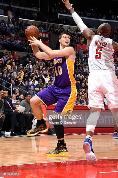Ivica Zubac of the Los Angeles Lakers handles the ball during the game against the Los Angeles Clippers on January 14 2017 at STAPLES Center in Los...