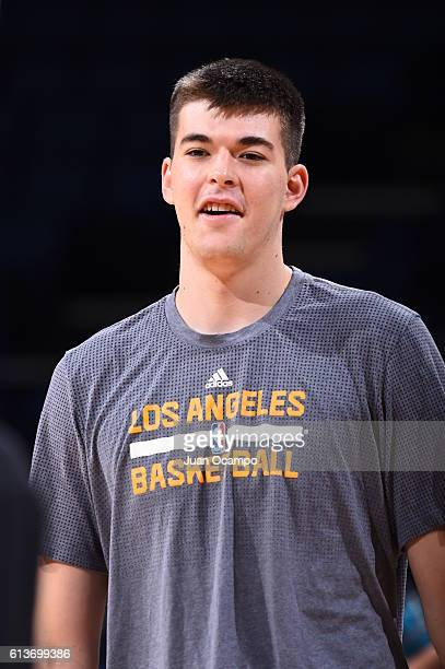 Ivica Zubac of the Los Angeles Lakers looks on against the Denver Nuggets before a preseason game on October 9 2016 at Citizens Business Bank Arena...
