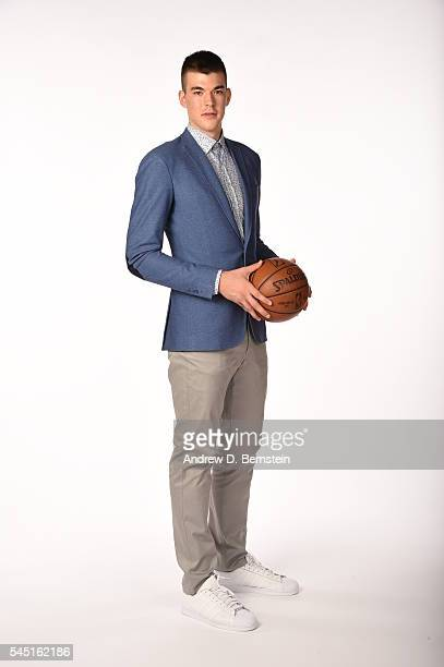 Ivica Zubac of the Los Angeles Lakers poses for a portrait after a press conference to introduce Los Angeles Lakers 2016 draft picks Brandon Ingram...