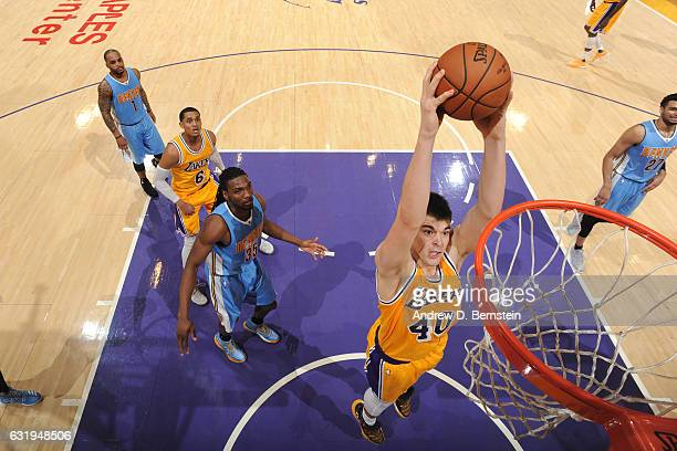 Ivica Zubac of the Los Angeles Lakers shoots the ball against the Denver Nuggets during the game on January 17 2017 at STAPLES Center in Los Angeles...