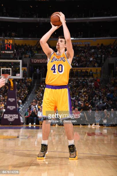 Ivica Zubac of the Los Angeles Lakers shoots the ball during a game against the Boston Celtics on March 3 2017 at STAPLES Center in Los Angeles...